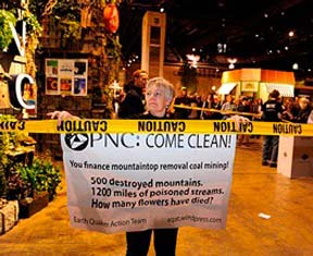 Protest against PNC Bank for financing mountop-removal mining